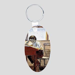 Winslow Homer - Homework Aluminum Oval Keychain