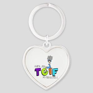 Thank God I'm Fabulous Heart Keychain