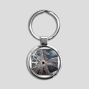 Broken Windshield Round Keychain