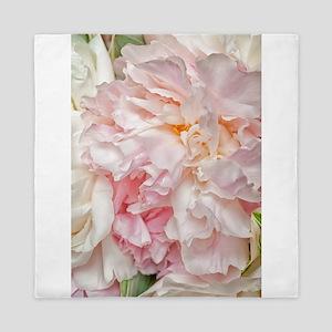 Blooming pink peonies 1 Queen Duvet