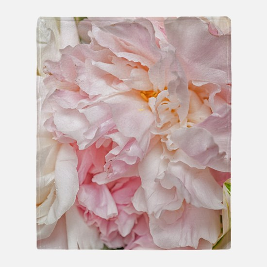 Blooming pink peonies 1 Throw Blanket