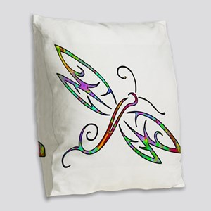 Colorful dragonfly Burlap Throw Pillow