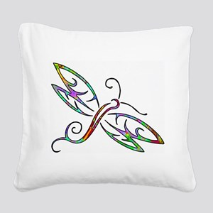 Colorful dragonfly Square Canvas Pillow