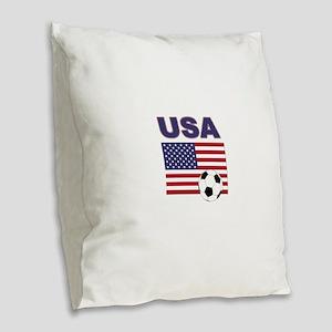 USA soccer Burlap Throw Pillow