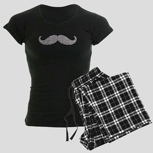 Silver Glitter Mustache Pajamas
