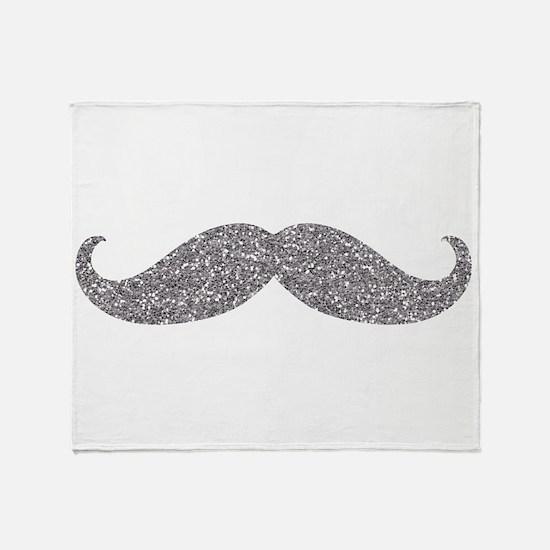 Silver Glitter Mustache Throw Blanket