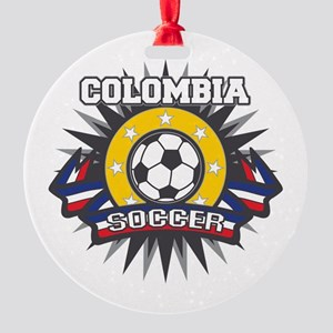 Colombia Soccer Round Ornament