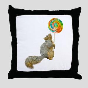 Fat Squirrel Lollipop Throw Pillow