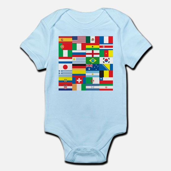 Flags of 32 Countries Infant Bodysuit