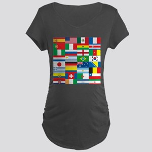Flags of 32 Countries Maternity Dark T-Shirt