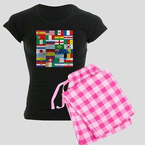 Flags of 32 Countries Women's Dark Pajamas