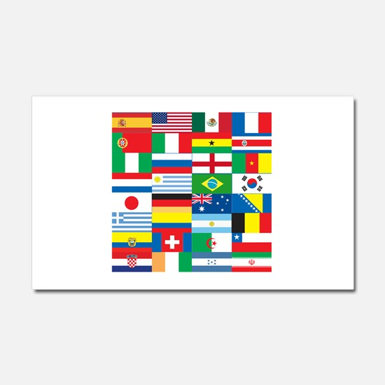 Flags of 32 Countries Car Magnet 20 x 12