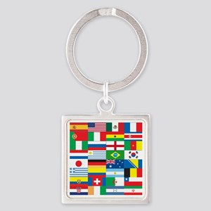 Flags of 32 Countries Square Keychain