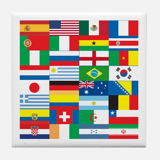 Flags of 32 Countries Tile Coaster