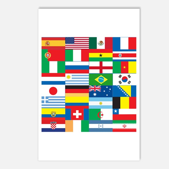 Flags of 32 Countries Postcards (Package of 8)