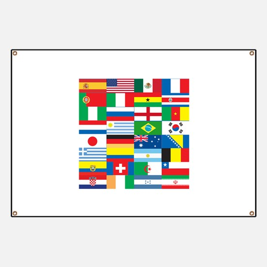 Flags of 32 Countries Banner