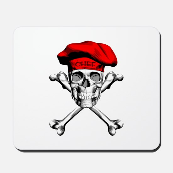Red Culinary Chef Skull Mousepad