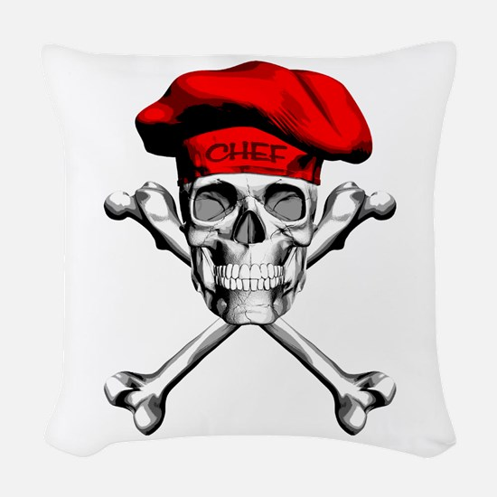 Red Culinary Chef Skull Woven Throw Pillow