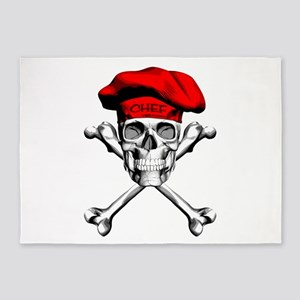Red Culinary Chef Skull 5'x7'Area Rug