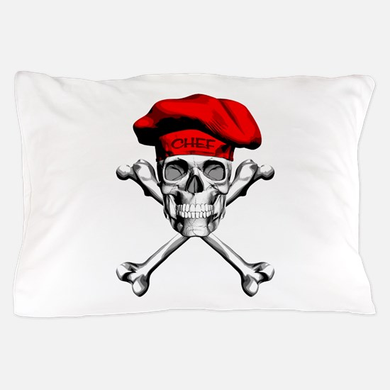 Red Culinary Chef Skull Pillow Case