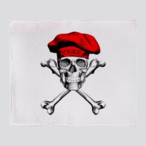 Red Culinary Chef Skull Throw Blanket