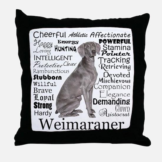 Weimaraner Traits Throw Pillow