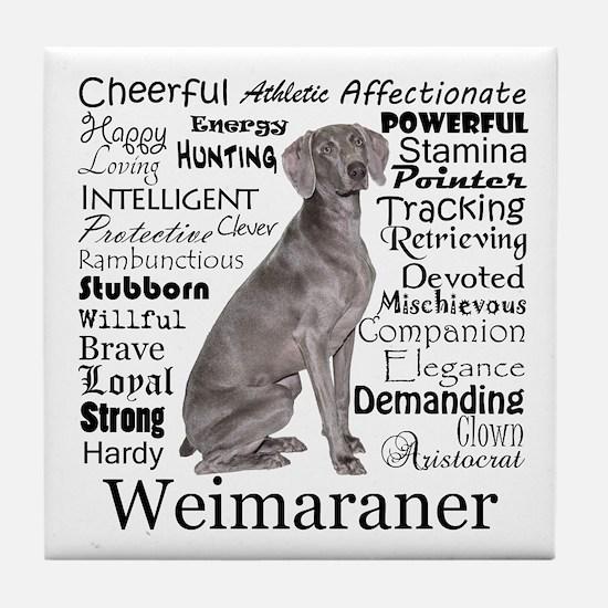 Weimaraner Traits Tile Coaster