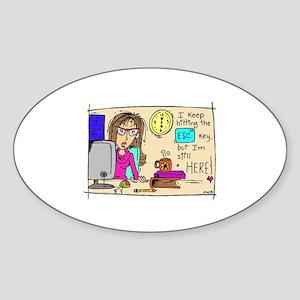 Escape Key Humor Sticker (Oval)