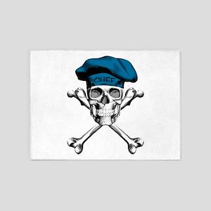 Blue Culinary Chef Skull 5'x7'Area Rug