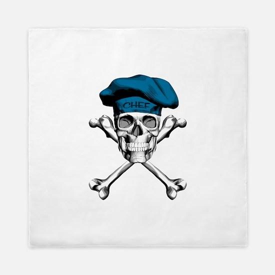 Blue Culinary Chef Skull Queen Duvet