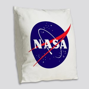 NASA Meatball Logo Burlap Throw Pillow