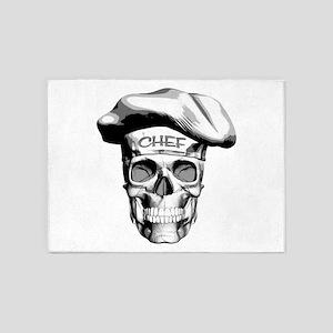 white Chef Skull 5'x7'Area Rug