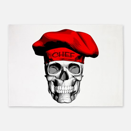 Red CHef Skull 5'x7'Area Rug