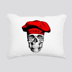 Red CHef Skull Rectangular Canvas Pillow