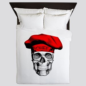 Red Chef Skull Queen Duvet