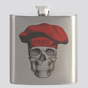 Red CHef Skull Flask