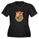USS JOHN C. Women's Plus Size V-Neck Dark T-Shirt