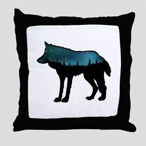 WOLF NIGHTLY Throw Pillow