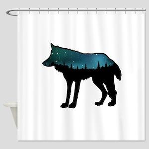 WOLF NIGHTLY Shower Curtain