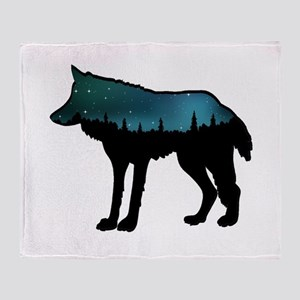 WOLF NIGHTLY Throw Blanket