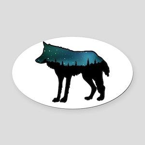 WOLF NIGHTLY Oval Car Magnet