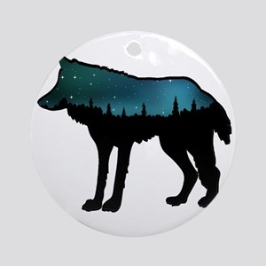 WOLF NIGHTLY Round Ornament