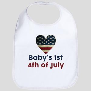 Babys 1st 4th of July Bib