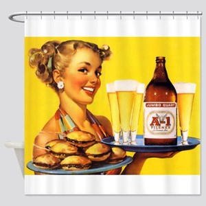Pin Up Girl, Beer, Burgers, Retro Shower Curtain