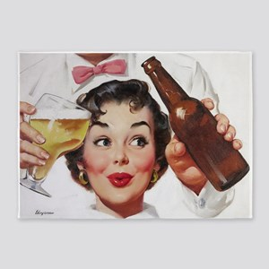 Pin Up Girl, Beer, Retro Vintage 5'x7'Area Rug