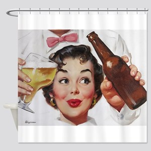 Pin Up Girl, Beer, Retro Vintage Shower Curtain