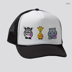 breast cancer cartoon animalslrg Kids Trucker hat