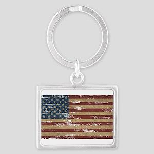 Vintage Distressed American Flag Keychains