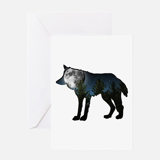 WOLF MOON Greeting Cards