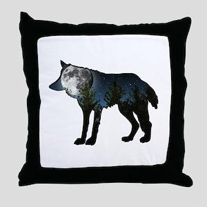 WOLF MOON Throw Pillow
